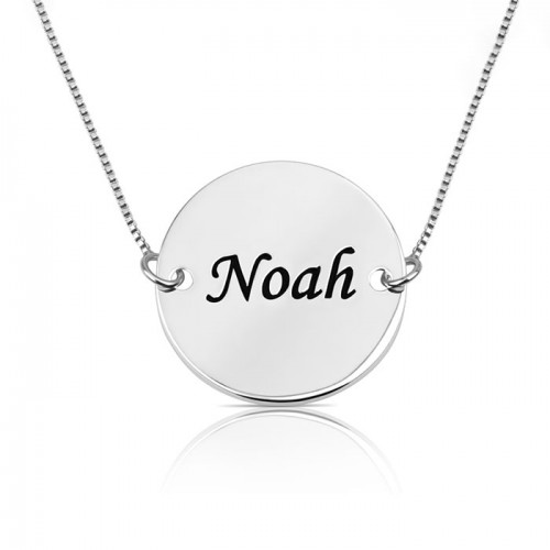 personalized disc necklace in 925 sterling silver