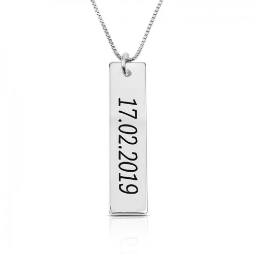 Numeral bar necklace in 925 sterling silver
