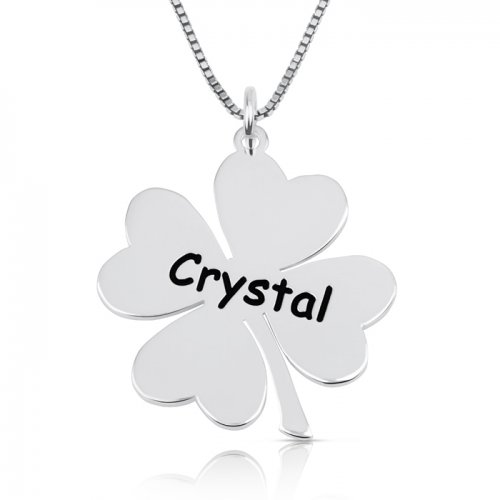 Engraved clover necklace in 925 sterling silver