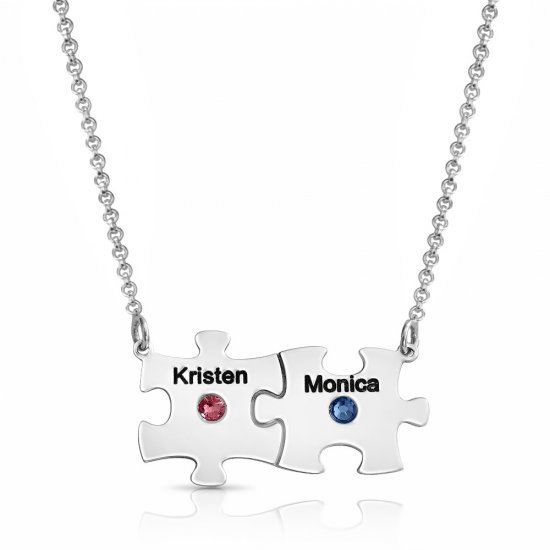 Silver Engraved Family Puzzle Necklace With Swarovski Birthstone