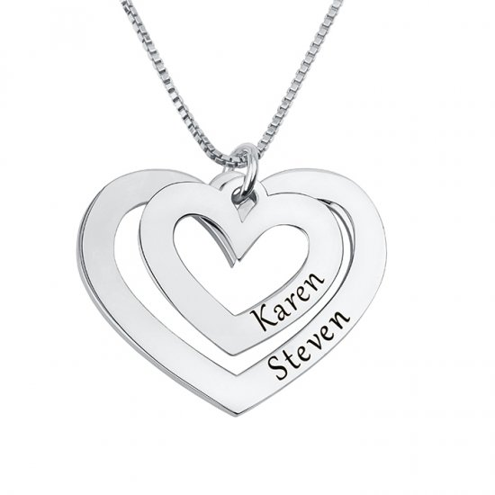 Silver Two Hearts Engraved Necklace