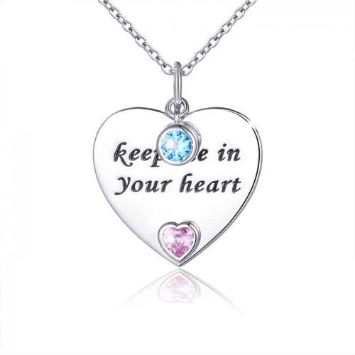 """keep me in your heart"" engraved heart pendant"