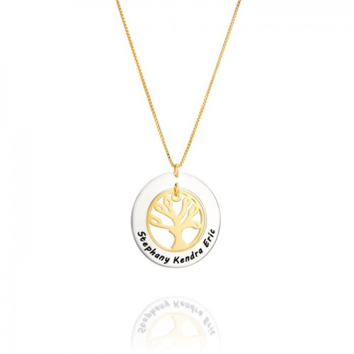 family tree pendant in silver + gold plated silver