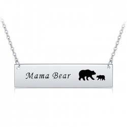 Mama bear bar necklace in sterling silver