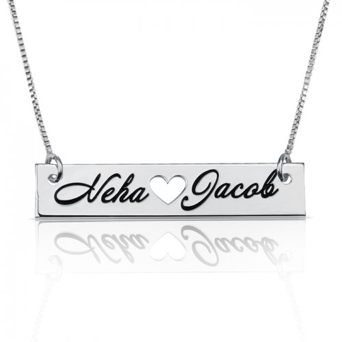 heart  bar necklace with two names engraved in 925 sterling silver
