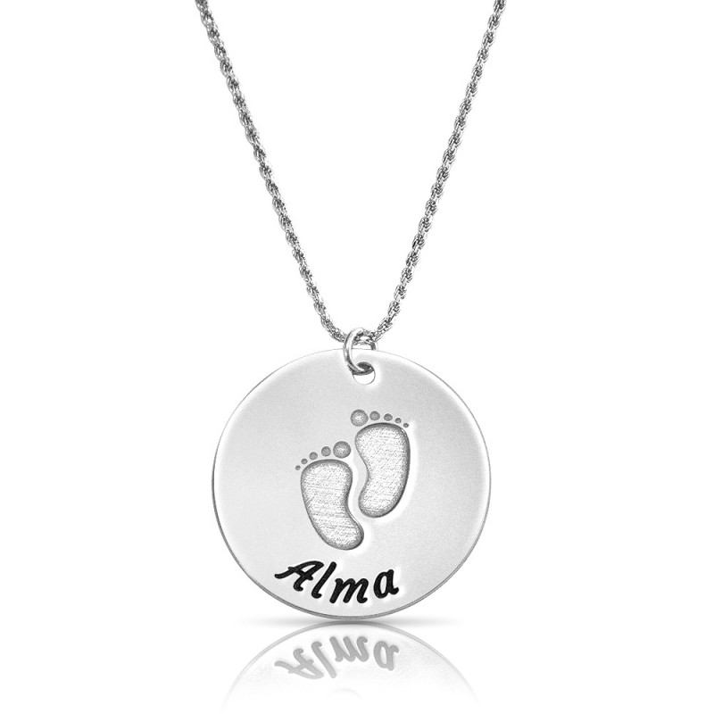 baby feet disc necklace in sterling silver