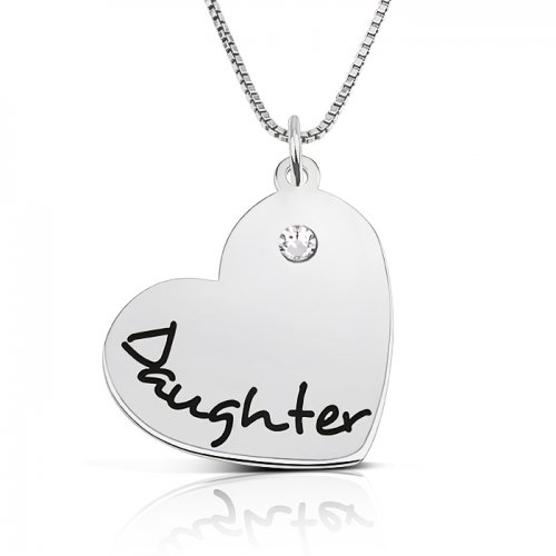 engraved heart pendant for daughter in sterling silver & swarovski birthstone