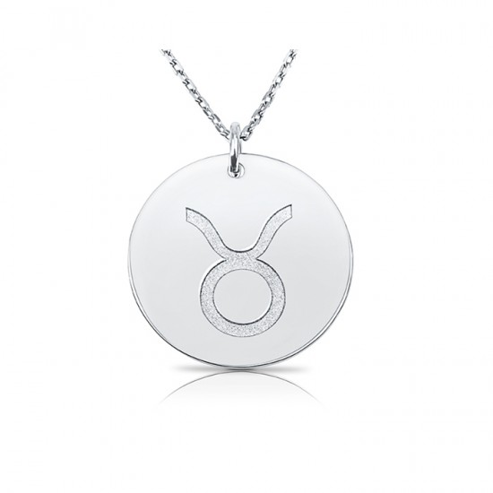 zodiac necklace in sterling silver :Taurus