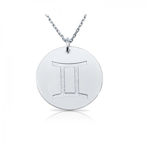 zodiac necklace in sterling silver :Gemini