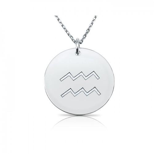 zodiac necklace in sterling silver :Aquarius