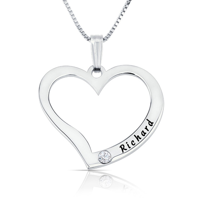 Silver Engraved Heart Necklace With Birthstone