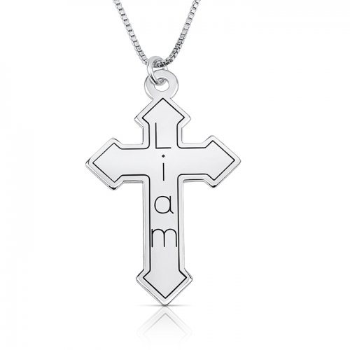 personalized engraved cross necklace in sterling silver