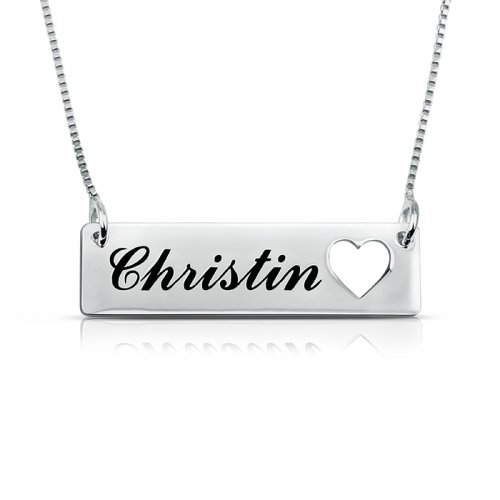 engraved heart  bar necklace in 925 sterling silver