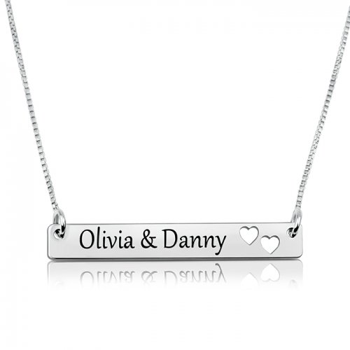 sterling silver bar necklace with two names & hearts