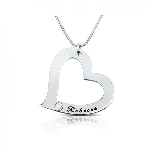 heart pendant necklace in 925 sterling silver &swarovski birthstone