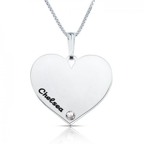 Dainty engraved heart necklace in sterling silver & swarovski