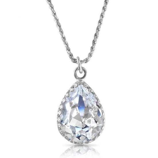 crystal from swarovski necklace - fancy clear pear stone