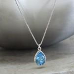 crystal from swarovski necklace - pear fancy aquamarine stone