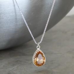 crystal from swarovski necklace - pear fancy light colorado topaz stone