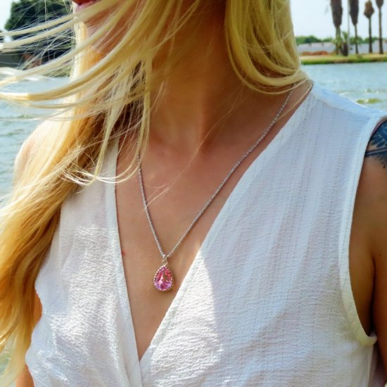 crystal from swarovski necklace - pear fancy light rose stone