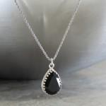 crystal from swarovski necklace - pear fancy jet stone