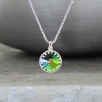 "crystal from swarovski necklace with round stone - "" crystal vitrail medium"""