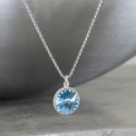 "crystal from swarovski necklace with round stone - "" aquamarine"""
