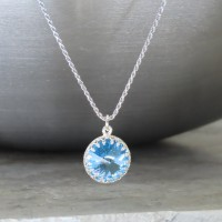 "crystal from swarovski necklace with round stone - "" aquamarine"""