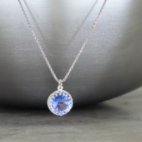"crystal from swarovski necklace with round stone - "" violet"""