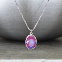 "crystal from swarovski necklace with oval fancy stone - "" crystal burgundy delite"""
