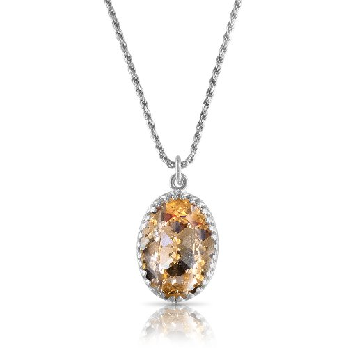 "Crystal From Swarovski Necklace With Oval Fancy Stone -""Light Colorado Topaz"""
