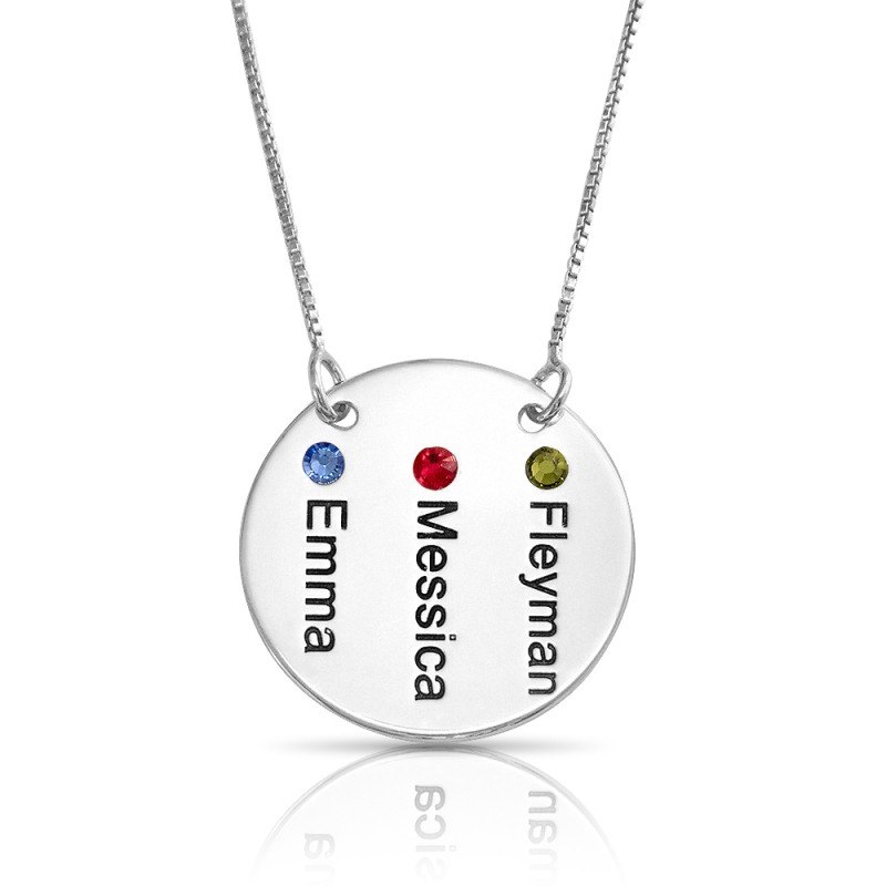 Engraved Disc Necklace in sterling silver and Swarovski Birthstones