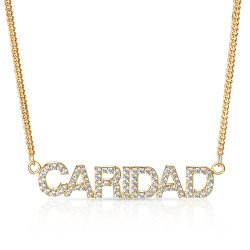 gold plated diamond name necklace - capital letters *  15% OFF WITH CODE:  sale1  *