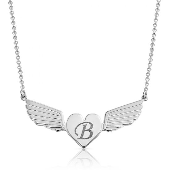 Engraved heart necklace and angel wings in sterling silver