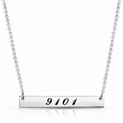 Lucky Number Bar Neckalce - 925 sterling silver