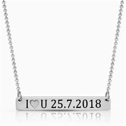Numeral Bar Necklace For Couples In sterling silver
