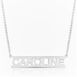 Cut Out Name Necklace in sterling silver