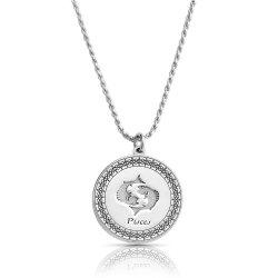 sterling silver zodiac pendant : pisces