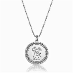 sterling silver zodiac pendant : gemini