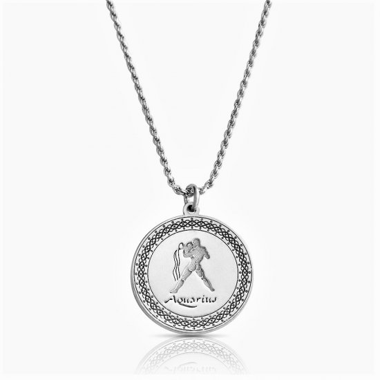 sterling silver zodiac pendant : aquarius