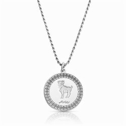 sterling silver zodiac pendant : aries