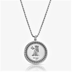 sterling silver zodiac pendant : virgo