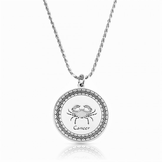 sterling silver zodiac pendant : cancer