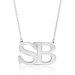 Large Initial Letters Necklace - 925 sterling silver