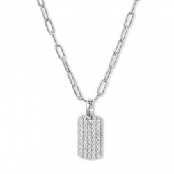 Gold plated dog tag pendant with sparkling cubic zirconia