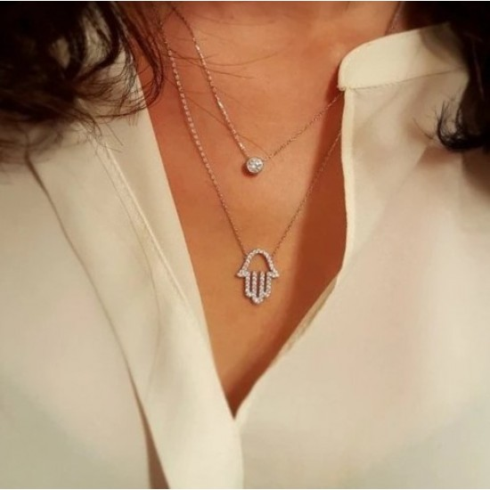 Double layered hamsa necklace in 925 sterling silver and cubic zirconia