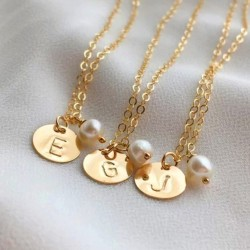 Sterling silver initial disc necklace with pearl