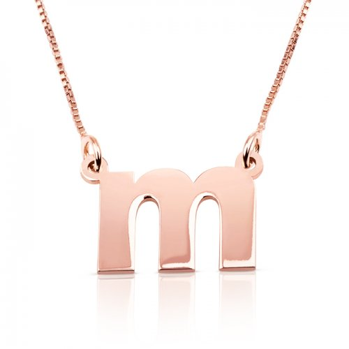 Lowercase initial necklace in 18k rose gold plating