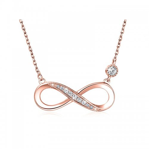 infinity necklace in rose gold plating and cubic zirconia