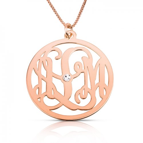 impressive monogram necklace with swarovski birthstone in rose gold plating